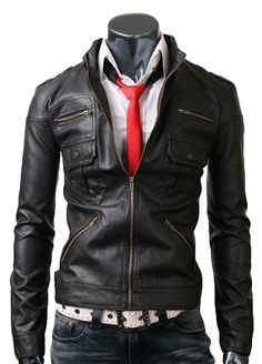 $99.00 - Adorn your persona by wearing this slim style black leather jacket and excite the people all-around with your splendor. This fitted style zip pocket jacket is crafted of the world's highest grade Cowhide / Lambskin leather which fasten reputation and classiness to it. This zip pocket leather jacket is a need of every stylish man's wardrobe.