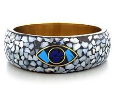 Evil Eye Bracelet Shell Inlay Mosaic Style Gold White Wide Cuff Bangle $15.99