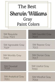 The Best Sherwin Williams Gray Paint Colors. With so many Sherwin Williams gray paint colors, how do you choose one? I went ahead and found the best of the best to share with you. Farmhouse Paint Colors, Exterior Paint Colors, Bedroom Paint Colors, Exterior House Colors, Paint Colors For Home, Wall Exterior, Gray Paint For Bedroom, Hgtv Paint Colors, Exterior Design