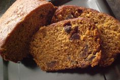 Chocolate Chip Pumpkin Bread - this turned out fantastic! Made 2 loaves & 6 muffins (only had 2 loaf pans). I cut the cinnamon down to 2 tsp. and the nutmeg to 1 tsp and only used semi-sweet choc chips.