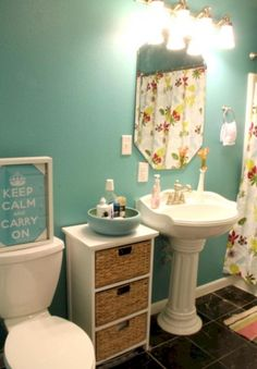 65 GORGEOUS PAINT IDEAS FOR A SMALL BATHROOM & 18 space-saving ideas for your bathroom | Pinterest | Pedestal sink ...