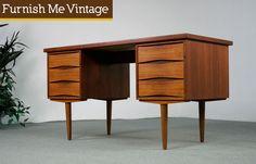 vintage desks | Mid Century Modern Vodder Style Danish Teak Desk | Furnish Me Vintage