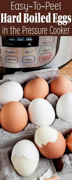 Hard boiled eggs that are easy to peel? Use your pressure cooker! Perfect, easily peeled eggs every time. Instant Pot Pressure Cooker, Pressure Cooker Recipes, Pressure Cooking, Digital Pressure Cooker, Instapot Hard Boiled Eggs, Making Hard Boiled Eggs, Pressure Cooker Boiled Eggs, Perfect Boiled Egg, How To Cook Eggs