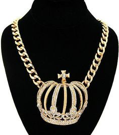 "Bling Rhinestone ""BIG CROWN"" Statement Necklace Gold Metal Link Chain"