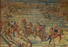 Orley,Bernaert (1492-1542) Seven large tapestries illustrate the Battle of Pavia in 1525,in which Emperor Charles V.defeated French King Francois I.   Fleeing French soldiers pursued by Imperial cavaliers.