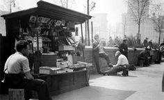 newsstand in union square park, manhattan, 1934