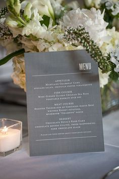 Wedding Menu as centerpiece / http://www.deerpearlflowers.com/grey-fall-wedding-ideas/