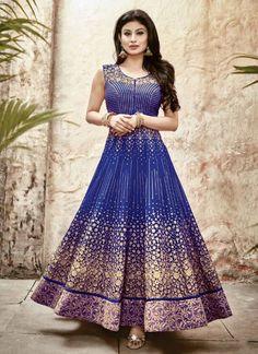 Blue Faux Georgette Designer Anarkali Salwar Suit #salwar #salwarsuit #salwarkameez #anarkalisuits #onlinesalwarshopping