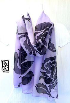 Hand painted silk scarf Purple silk scarf. by SilkScarvesTakuyo, $120.00