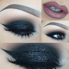 #black #smokey eye with soft silver glitter + black winged eyeliner   evening / night-out makeup @julisad_mbm