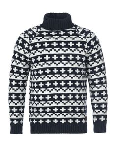 Teo roll neck knitted sweater Navy and White - Klitmøller Collective
