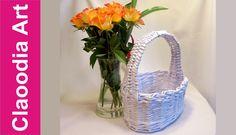 Owalny koszyk z rączką, papierowa wiklina (oval basket, wicker paper) Cardboard Crafts, Paper Crafts, Newspaper Basket, Art N Craft, Basket Weaving, Quilling, Wicker, Youtube, Recycling