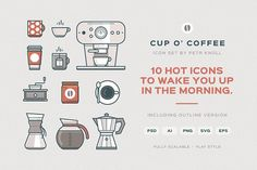 Cup O' Coffee Icon Set by Petr Knoll on @creativemarket