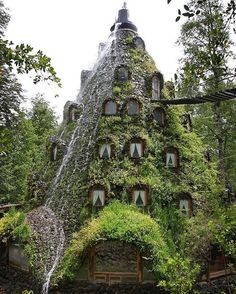 A strange volcano-like building spews water instead of lava; its welcoming windows adorned with moss and vines complementing the surrounding trees.  It looks like the kind of place the blue folk from Avatar might hook up with hobbits and Ewoks to go on holiday.  But this is neither Pandora Middle-Earth nor the Star Wars forest moon of Endor.  Deep in southern Chile lies the Montana Magica Lodge - an extraordinary hotel hidden away in the centre of a 300000-acre private nature reserve. Huilo…