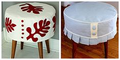 Slipcover stools from ModHomeEc blog - sleek and what a transformation