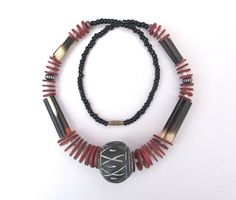 Your place to buy and sell all things handmade African Necklace, Black Clay, Big Black, Clay Beads, Ethnic Jewelry, How To Make Beads, Quilling, Fashion Necklace, Necklaces