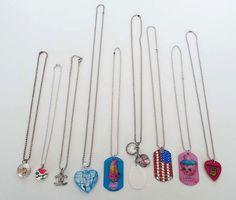 """9 Piece Estate Lot Vintage Modern Novelty Necklaces 8""""-16"""" Dogtag Guitar Pick CC #unmarked #Pendantchaindogtagnovelty"""