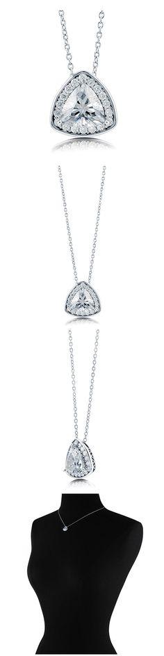 Sterling Silver Trillion CZ Halo Fashion Necklace