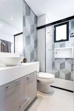 Looking to re-tile your kitchen or bathroom? Try a funky geometric tile! This falling block tile design is on-trend around the world. For more ways to add graphic pattern and punchy prints to your home, go to Domino. Bathroom Layout, Bathroom Interior, Modern Bathroom, Small Bathrooms, Bathroom Ideas, Bathroom Plants, Master Bathroom, Bad Inspiration, Bathroom Inspiration