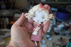 Big Head Girl and Bunny Art Doll Brooch by miopupazzo on Etsy