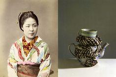 Left  photo by Kusakabe Kimbei - Right  design Carol Macnicoll - photo by David Cripps