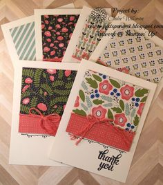 Cindee's quick & easy cards: Tin of Cards set, Pretty Petals dsp stack, Thick Baker's Twine - all from Stampin' Up! Scrapbooking, Scrapbook Cards, Card Making Inspiration, Making Ideas, Cool Cards, Cards Diy, Easy Cards, Thanks Card, Making Greeting Cards