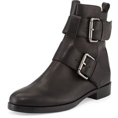 Pierre Hardy Double-Buckle Leather Ankle Boot (8.451.765 IDR) ❤ liked on Polyvore featuring shoes, boots, ankle booties, black, ankle high boots, short leather boots, black bootie, leather ankle boots and leather booties