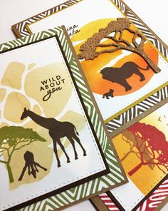 Cards created using Hero Arts My Monthly Hero June 2017 card kit.  Love that safari vibe!