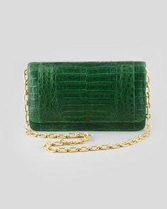 Crocodile Medium Chain-Strap Flap Clutch Bag, Green by Nancy Gonzalez at Bergdorf Goodman.