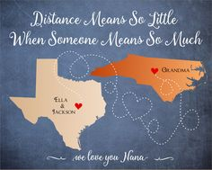 Mother's Day Gift, Long Distance Relationship Map, Family Living Far apart, Gift for Mother,Gift for Grandma, Moving Away, Distance by DarmellaGraphics on Etsy
