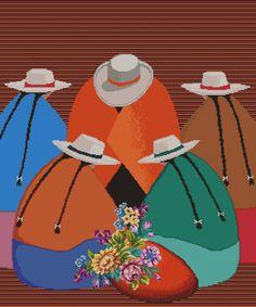 """PATRON PUNTO CRUZ.   (Foto del Bordado Virtual)   """"Las Floristas""""   Para bordar con Hilos DMC   290 Puntos de Ancho   350 Puntos de Alto. South American Art, Native American Art, Vermeer Paintings, Step By Step Sketches, Indian Drawing, Hispanic Art, Peruvian Art, Cardboard Box Crafts, Aztec Warrior"""