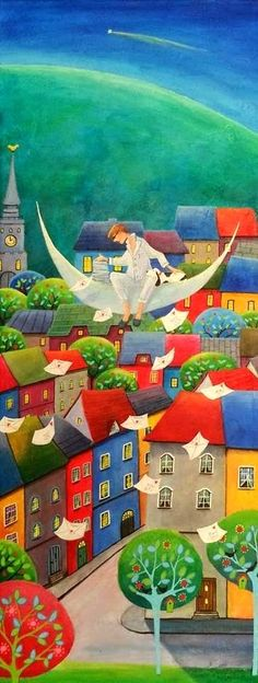 Paintings and illustrations by Iwona Lifsches. Art presentation and sale of original paintings and other art products. Art Gallery, Illustration Art, Illustrations, Fairytale Art, Arte Popular, Naive Art, Colorful Paintings, Moon Art, Figurative Art