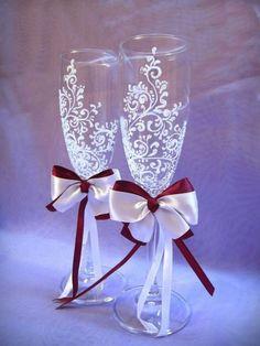 Свадебные аксессуары хенд мейд - бокалы свадебные, пригласительные на свадьбу, фотоальбом