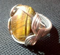 Tiger Eye Wire Wrapped Pharaoh Ring by WireWizardz on Etsy