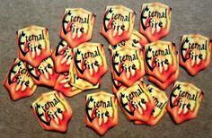 set of 28 Tiny loose peel back glitter dust labels / stickers for little glass bottles , favours , Fairy crafts , Eternal Fire by Juliescardcupboard on Etsy
