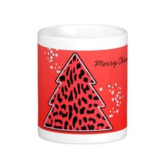 Leopard cheetah Christmas Tree Mug