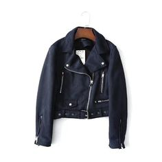 2019 Lady Autumn Pu Suede Leather Jacket Oblique Zipper Jackets Women Streetwear Cool Coat Navy Blue S Pu Jacket, Cropped Leather Jacket, Faux Leather Jackets, Cool Coats, New Fashion, Fashion Spring, Suede Leather, Sleeve Styles, Winter Outfits
