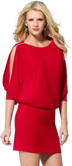NWT CACHE Sexy RED Rhinestones Split Sleeves Blouson EVENING Club DRESS   M 6-8 #CACHE #Blouson #Cocktail