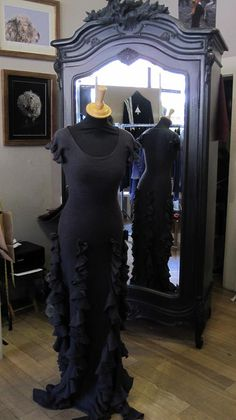 Dyed over truffle wedding dress, lovely in grey