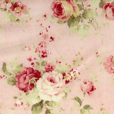 Durham Cotton Fabric by Lecien Roses on Pink by agardenofroses