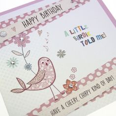 Handmade Luxury Polka Dot Birthday Card Bird Cute Crystals Gold Shimmer Embossed Board - 'Have a Cheery Kind of Day'