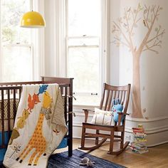The Land of Nod | Baby Crib Bedding: Bright-Eyed Bushy-Tailed Crib Bedding in Crib Bedding Collections