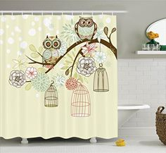 Ambesonne Owls Home Decor Collection, Owl Winter Floral Background Blossoms Owls Out of Their Cages Bird Cage Freedom Image, Polyester Fabric Bathroom Shower Curtain Set with Hooks, Olive Blue Pink