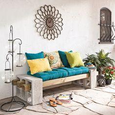 banc avec parpin et poutres de bois