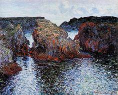 lonequixote:  Belle-Ile, Rocks at Port-Goulphar ~ Claude Monet