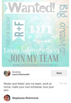 Don't miss out on getting In on this great opportunity to work for this company Rodan and Fields ( Doctors from Proactive) It's going places and fast ... Stay at home and work and get great skin in the process... Join my team today,,,,, message me today or go to msavant.myrandf.biz