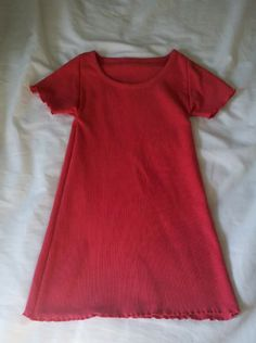 Simple girls' nightgown or dress made from an adult T-Shirt
