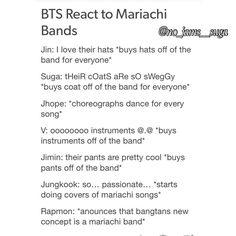 BTS react to mariachi band Jimin Jungkook, Bts Bangtan Boy, Bts Boys, Bts Scenarios, About Bts, Derp, Namjin, Vixx, Jung Hoseok