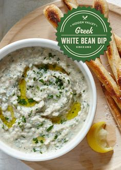 Rich and creamy, light and fresh tasting, this dip pairs well with everything from veggies to bread sticks.