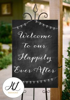 INSTANT Download, Printable Chalkboard Wedding Sign, Welcome to our Happily Ever After, PDF, DIY